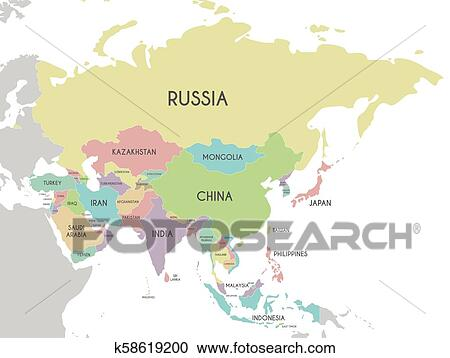 Political Asia Map vector illustration isolated on white background   Editable and clearly labeled layers  Clipart