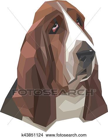 Ritratto Di Cane Bassotto In Uno Geometrico Stile Clipart