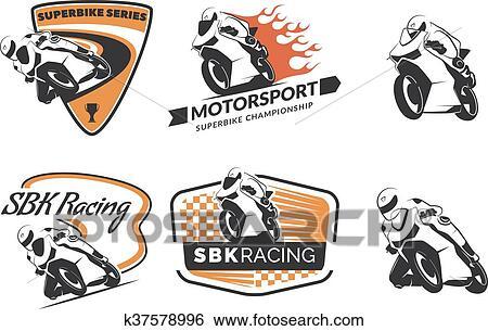Set Of Racing Motorcycle Logo Badges And Icons Motorcycle Repair
