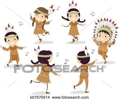 Stickman Kids Native American Circle Dance Clipart K57570514 Fotosearch