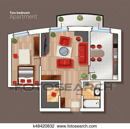 Clipart Of Vector Top View Floor Plan The House Room Modern