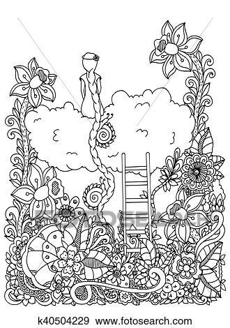 Vektor Abbildung Zentangl Mädchen Sitzen Auf A Wolke In Flowers Gekritzel Blumen Drawing Nachdenklich Exercises Ausmalbilder