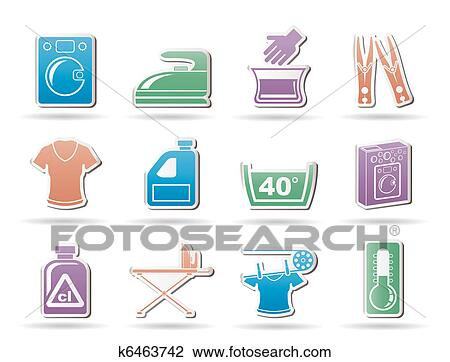 clipart of washing machine and laundry icons k6463742 search clip