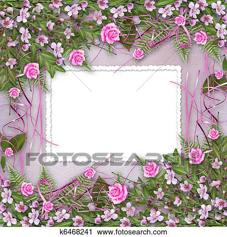 Clipart of Writing abstract background with frame and floral ...