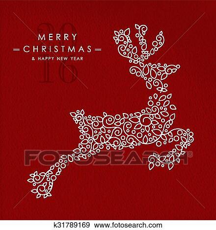 Zalige Kerst Gelukkig Nieuwjaar Schets Hertjes Deco Clipart