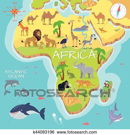 Clip art frica continente caricatura mapa con fauna especie clip art frica continente caricatura mapa con fauna especie gumiabroncs Choice Image