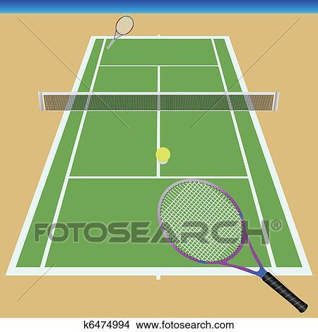 テニスコート クリップアート切り張りイラスト絵画集 K6474994