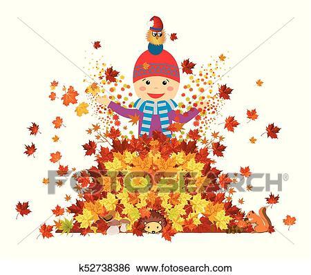 Amusement park fun with leaves Clip Art   k52738386 ...