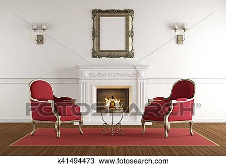 Bianco, caminetto, in, uno, classico, soggiorno Disegno