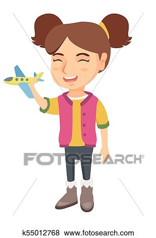 Caucasian Cheerful Girl Playing With Toy Airplane Clip Art