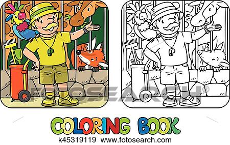 Coloring Book Of Funny Zoo Keeper With Parrot Clip Art