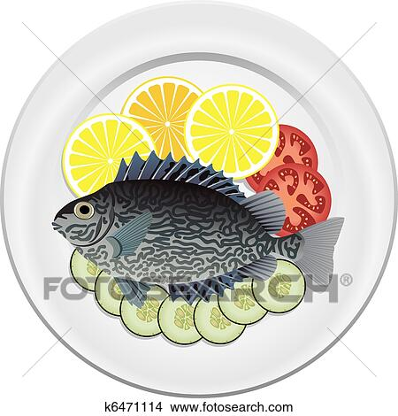 Cooked Fish And Raw Vegetables On A Plate Clipart K6471114