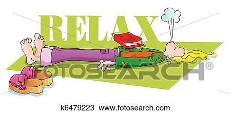 Engracado Iogue Relaxante E Respirar Desenho K6479223