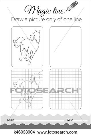 Clipart - libro colorear, caballo, negro k46033904 - Buscar Clip Art ...
