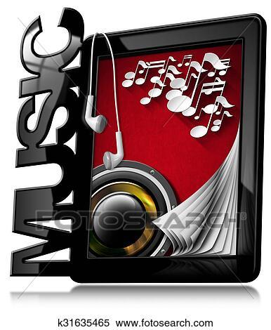 Colección De Ilustraciones Música Computadora Personal Tableta