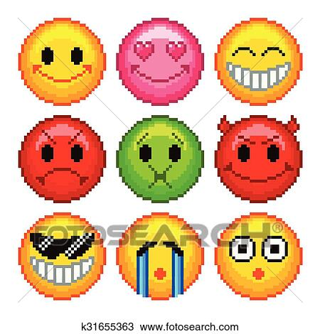 Pixel Smileys For Games Icons Vector Set Clipart K31655363