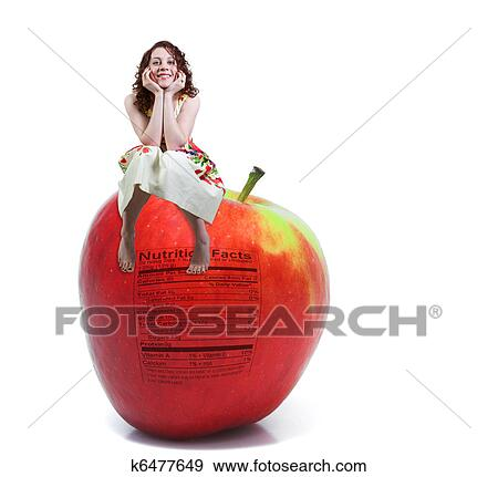 Red Delicious Apple With Nutrition Label Stock Photo K6477649 Fotosearch