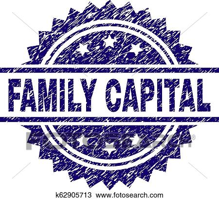 FAMILY CAPITAL Stamp Seal Watermark With Distress Style Blue Vector Rubber Print Of Title Corroded Texture