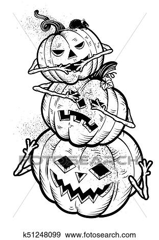 Clip Art Of Three Wise Halloween Pumpkins K51248099