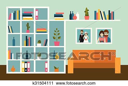 Clipart - wohnzimmer, wand, mit, orange, sofa, und, buch, shelves ...