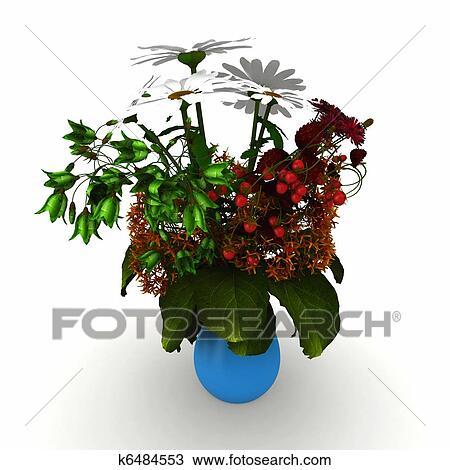 Stock Photo Of 3d Flower Arrangement On Vase K6484553 Search Stock