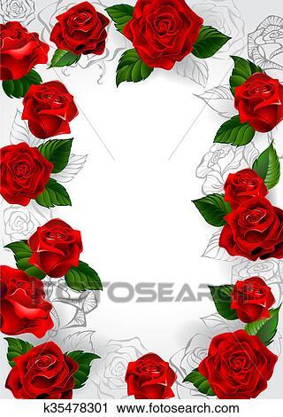 Clipart Cornice Di Rose Rosse K35478301 Cerca Clipart