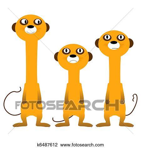 clip art of curious meerkats k6487612 search clipart illustration rh fotosearch com cartoon meerkat clipart