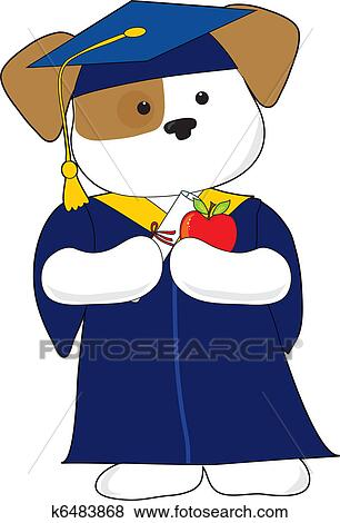 Cute Puppy Graduation Clip Art | k6483868 | Fotosearch