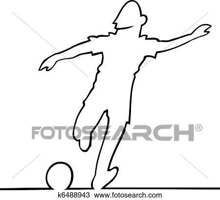 Fussballspieler Treten Kugel Clipart K6488943 Fotosearch