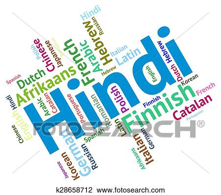 Hindi Language Means International Words And Vocabulary Drawing