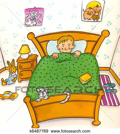 Stock Illustration Kind Bett K6487769 Suche Clipart Zeichnungen