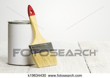 Populära Målarpensel, och, kan, målarfärg borsta, och, vit, färg, behållare UP-12