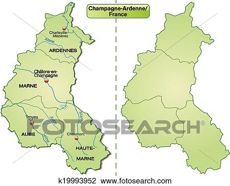 Map of Champagne-Ardenne Clipart | k19993952 | Fotosearch Champagne Ardenne Map on