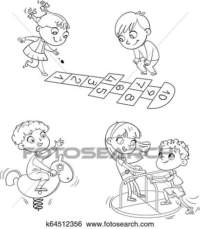 - Recreation Park. Playground. Kids Zone. Place For Games. Coloring Book Clip  Art K64512356 Fotosearch