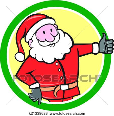 Father Christmas Cartoon Images.Santa Claus Father Christmas Thumbs Up Circle Cartoon Clipart