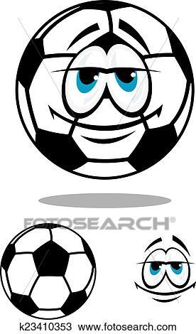 Schwarz Weiss Glucklich Karikatur Fussball Ball Clipart