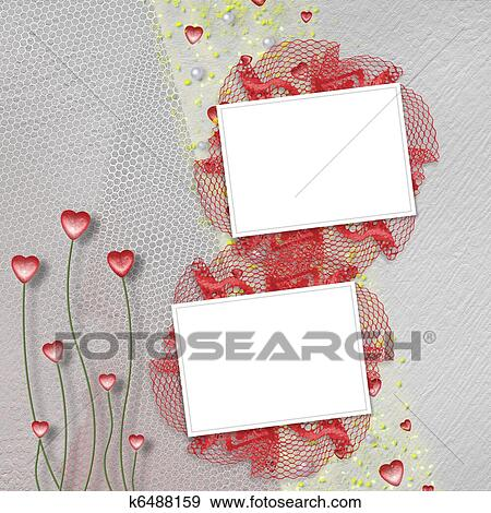 Stock Illustration of Two grunge frames for photos with hearts and ...