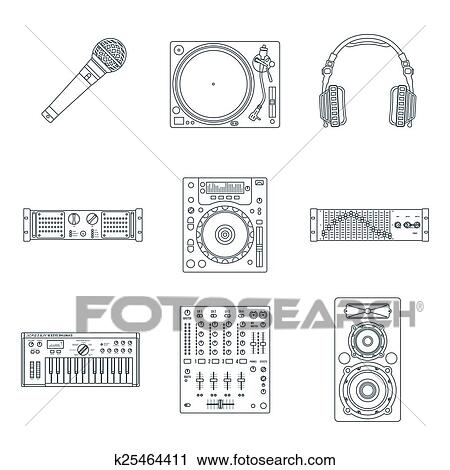 Clipart Of Vector Various Dark Outline Sound Dj Equipment Devices