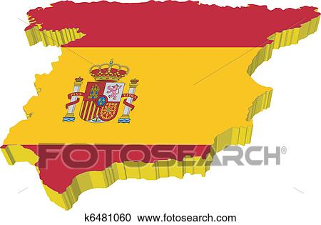 3d Map Of Spain.Vectors 3d Map Of Spain Clipart