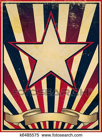Stock illustration of worn and faded retro poster template k6485575 a damaged worn and faded stars and stripes themed vintage retro poster background maxwellsz