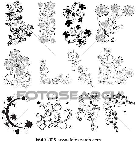 Clipart Of Black And White Flowers Angle Set K6491305 Search Clip