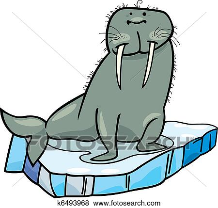 clip art of cartoon walrus on floating ice k6493968 search clipart rh fotosearch com walrus clipart free walrus clipart black and white