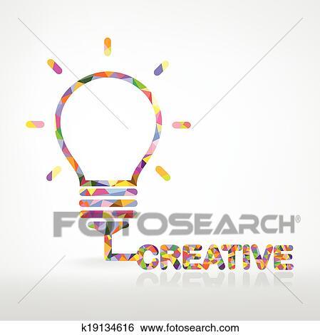 Clip Art Of Creative Light Bulb Idea Concept K19134616