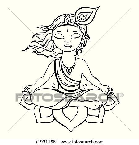 Krishna Bhagwan Drawing Photo
