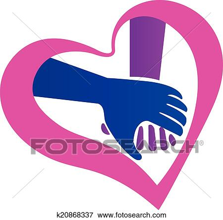 Clip Art Of Holding Hands Heart Shape Logo K20868337 Search