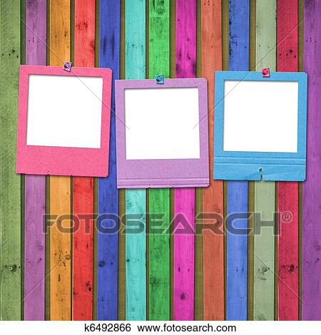 stock illustration of old slides on the abstract wooden background