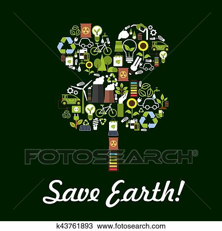 Save Earth Symbol In Clover Leaf Shape Nature And Ecology Protection Designed Of Planet Conservation Pollution Prevention Recycling Items Electric
