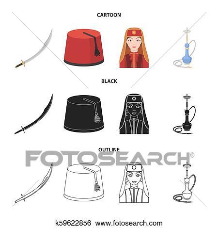 Turkish fez, yatogan, turkish, hookah  Turkey set collection icons in  cartoon, black, outline style bitmap symbol stock illustration web  Stock
