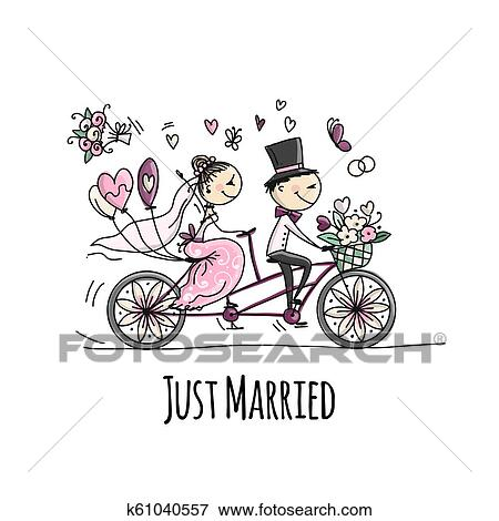 Wedding Card Design Bride And Groom Riding On Bicycle Clip Art
