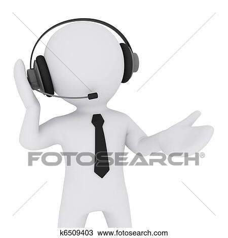 3d Man With Headset Drawing K6509403 Fotosearch